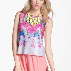 Anthropologie Dream Daily sequin floral tank  top